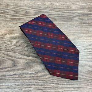 Jos A Bank Dark Red, Navy & Gold Plaid Tie
